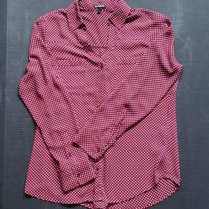 Red & White Polka Dot Express Buttom Up Blouse